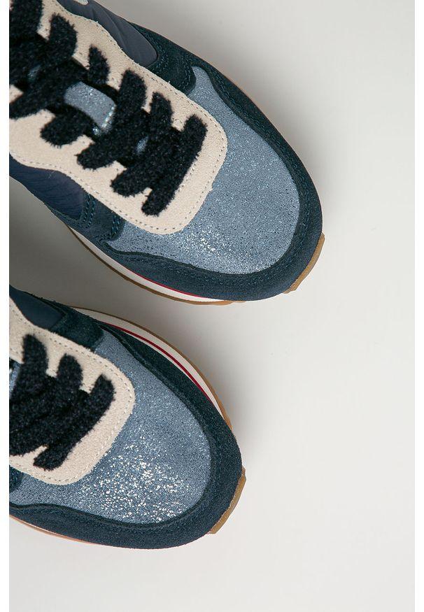 Niebieskie buty sportowe Pepe Jeans z cholewką, na sznurówki
