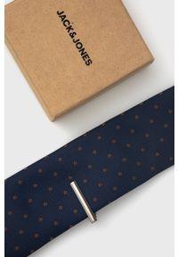 Jack & Jones - Spinka i krawat. Kolor: niebieski. Materiał: materiał, poliester