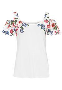 Biała bluzka bonprix na lato, z nadrukiem