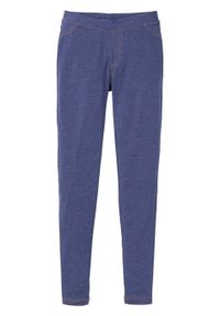 Legginsy do spania z kieszeniami bonprix niebieski dżins melanżowy