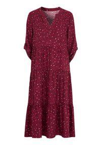Czerwona sukienka Cellbes z dekoltem w serek, maxi