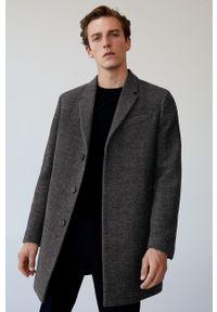 Szary płaszcz Mango Man klasyczny, na co dzień, bez kaptura