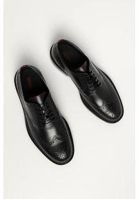 Hugo - Półbuty skórzane. Nosek buta: okrągły. Zapięcie: sznurówki. Kolor: czarny. Materiał: skóra