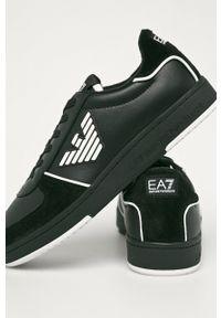 Czarne buty sportowe EA7 Emporio Armani na sznurówki, z cholewką