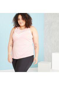 DOMYOS - Top fitness Domyos Plus Size. Kolekcja: plus size. Materiał: poliester, materiał, elastan. Długość rękawa: na ramiączkach. Długość: długie. Sport: fitness