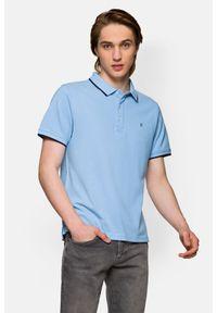 Lancerto - Koszulka Błękitna Polo Dominic. Typ kołnierza: polo. Kolor: niebieski. Materiał: włókno, materiał, bawełna. Długość rękawa: krótki rękaw. Wzór: ze splotem. Sezon: lato. Styl: klasyczny