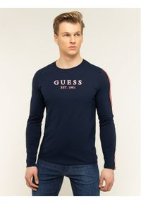 Niebieska koszulka z długim rękawem Guess