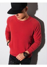 Ombre Clothing - Bluza męska bez kaptura B1156 - czerwona - XXL. Typ kołnierza: bez kaptura. Kolor: czerwony. Materiał: dresówka, bawełna, jeans, dzianina, poliester