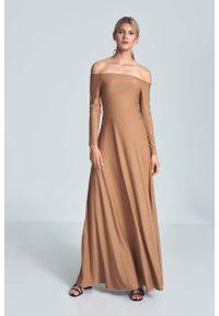Beżowa sukienka wizytowa Figl maxi