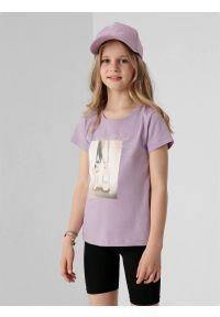 4f - Czapka z daszkiem strapback dziewczęca. Kolor: fioletowy