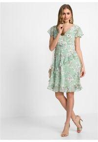 Sukienka z poliestru z recyklingu bonprix kryształowy miętowy - biel wełny w kwiaty. Kolor: zielony. Materiał: wełna, poliester. Wzór: kwiaty