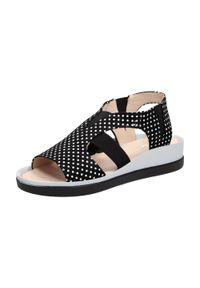 Czarne sandały Tyche w grochy, klasyczne #1
