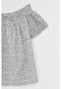 Biała bluzka Mango Kids casualowa, z dekoltem typu hiszpanka, na co dzień
