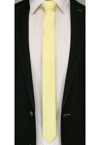 Jednokolorowy Krawat Męski, Śledź - 5 cm - Angelo di Monti, Kanarkowy. Kolor: złoty, żółty, wielokolorowy