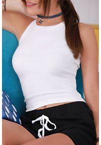 Biały top IVET elegancki, na ramiączkach, krótki