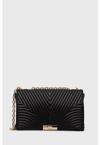 Sisley - Torebka. Kolor: czarny. Materiał: pikowane. Rodzaj torebki: na ramię