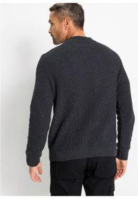Szary sweter bonprix z dekoltem w serek, melanż, klasyczny