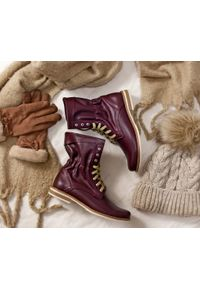 Czerwone botki Zapato w kolorowe wzory, na spacer, sportowe, wąskie