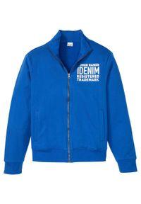 Bluza rozpinana bonprix lazurowy z nadrukiem. Typ kołnierza: kołnierzyk stójkowy. Kolor: niebieski. Wzór: nadruk