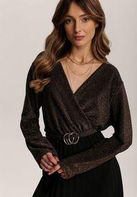 Renee - Czarno-Brązowa Sukienka Virjeon. Okazja: na imprezę. Kolor: czarny. Długość rękawa: długi rękaw. Wzór: aplikacja. Typ sukienki: plisowane, kopertowe, rozkloszowane. Styl: elegancki