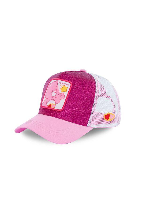 Różowa czapka z daszkiem CapsLab z aplikacjami