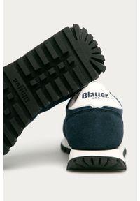 Niebieskie sneakersy Blauer na niskim obcasie, z cholewką, na obcasie