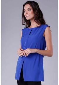 Nommo - Chabrowa Koszula bez Rękawów z Krytym Zapięciem. Kolor: niebieski. Materiał: wiskoza, poliester. Długość rękawa: bez rękawów