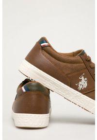 Brązowe sneakersy U.S. Polo Assn z okrągłym noskiem, na sznurówki, z cholewką