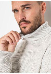 Biały sweter bonprix melanż, z golfem #6