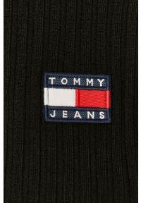 Tommy Jeans - Kardigan. Kolor: czarny. Materiał: dzianina, materiał. Długość rękawa: długi rękaw. Długość: długie