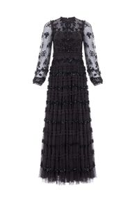 NEEDLE & THREAD - Czarna sukienka maxi Eve. Kolor: czarny. Długość rękawa: długi rękaw. Wzór: kwiaty. Długość: maxi