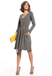 Tessita - Rozkloszowana Sukienka w Szpic - Szara. Kolor: szary. Materiał: bawełna, poliester, elastan