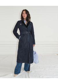 SAKS POTTS - Granatowy płaszcz Cecile. Kolor: niebieski. Materiał: wełna. Sezon: zima. Styl: elegancki