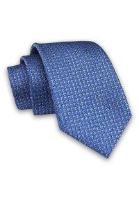 Alties - Niebieski Elegancki Męski Krawat -ALTIES- 7cm, Stylowy, Klasyczny, w Drobny Rzucik. Kolor: niebieski. Materiał: tkanina. Styl: klasyczny, elegancki