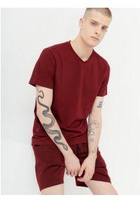 outhorn - T-shirt z dekoltem w serek męski. Okazja: na co dzień. Typ kołnierza: dekolt w serek. Materiał: bawełna, jersey, materiał. Wzór: gładki. Styl: casual