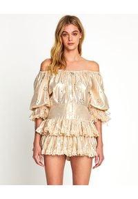 ALICE MCCALL - Jasnobeżowa sukienka Electric Galaxy. Okazja: na wesele, na ślub cywilny, na imprezę. Typ kołnierza: kołnierz z falbankami. Kolor: beżowy. Materiał: materiał. Wzór: haft, aplikacja. Długość: mini