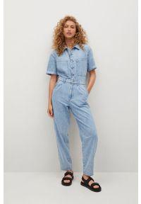mango - Mango - Kombinezon jeansowy Parisin. Okazja: na co dzień. Kolor: niebieski. Materiał: jeans. Długość rękawa: krótki rękaw. Długość: krótkie. Styl: casual