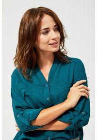 Zielona koszula MOODO z długim rękawem, długa