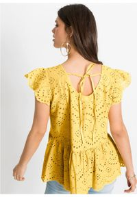 Bluzka z ażurowym haftem bonprix żółty curry. Kolor: pomarańczowy. Wzór: haft, ażurowy