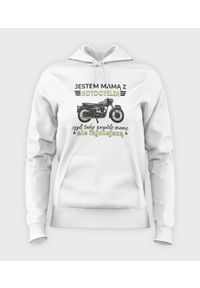 MegaKoszulki - Bluza damska z kapturem Mama z motocyklem. Typ kołnierza: kaptur