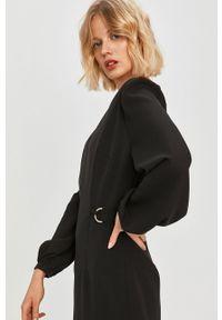Czarna sukienka Trussardi Jeans mini, na spotkanie biznesowe, prosta