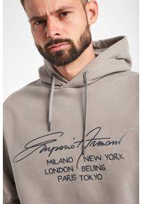 Emporio Armani - BLUZA EMPORIO ARMANI. Typ kołnierza: kaptur. Materiał: bawełna. Wzór: napisy, nadruk