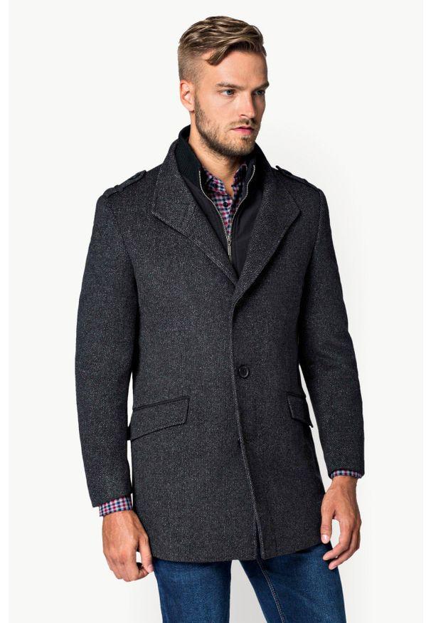 Szary płaszcz Lancerto ze stójką, na zimę