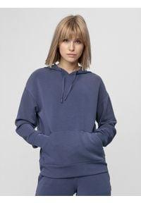 4f - Bluza treningowa damska z modalu. Typ kołnierza: kaptur. Kolor: niebieski. Materiał: włókno, dzianina