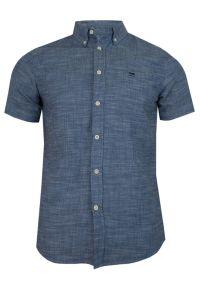 Niebieska koszula casual Pako Jeans krótka, na co dzień, z krótkim rękawem, melanż