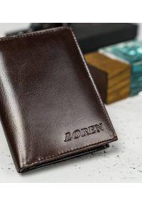 LOREN - Skórzany portfel męski Loren brązowy RM-03-BCF BROWN. Kolor: brązowy. Materiał: skóra