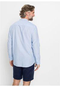 Niebieska koszula bonprix casualowa, ze stójką, w paski, na co dzień