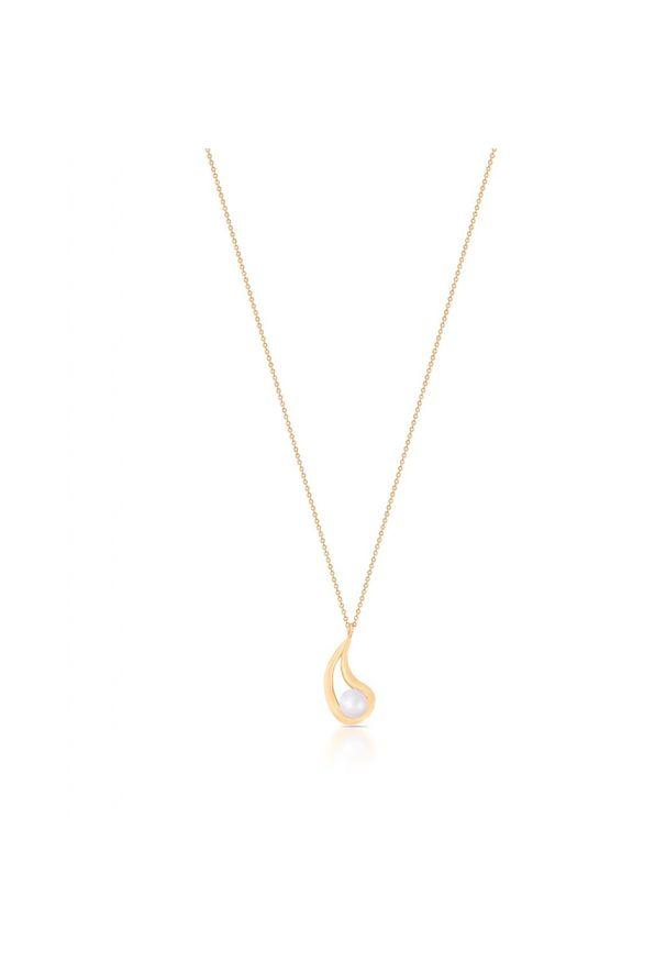 Złoty naszyjnik W.KRUK z perłą, złoty, w ażurowe wzory