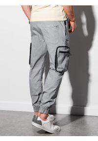 Ombre Clothing - Spodnie męskie joggery P960 - szare - XXL. Kolor: szary. Materiał: materiał, bawełna