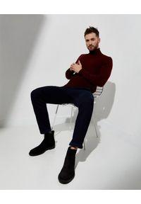 FAY - Granatowe spodnie z podwijanymi nogawkami. Okazja: na co dzień. Kolor: niebieski. Materiał: materiał. Długość: długie. Styl: klasyczny, casual